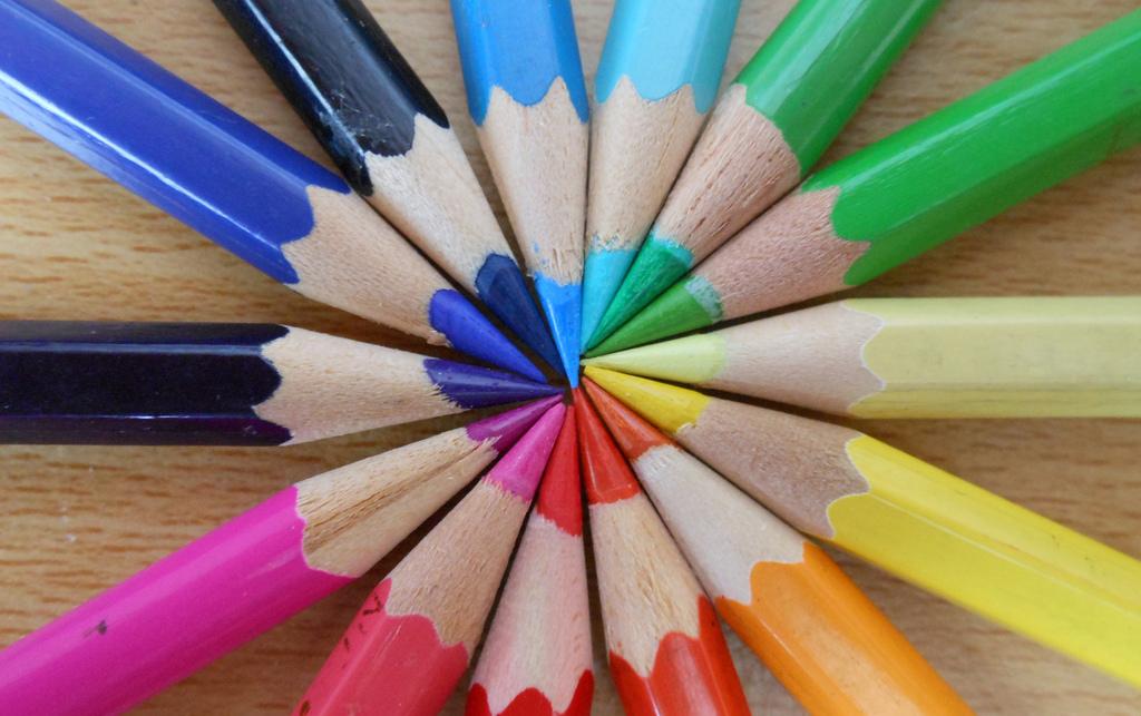 Potloden in diverse kleuren.