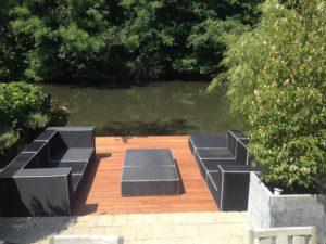 Project vlonder van bamboe terrasdelen.